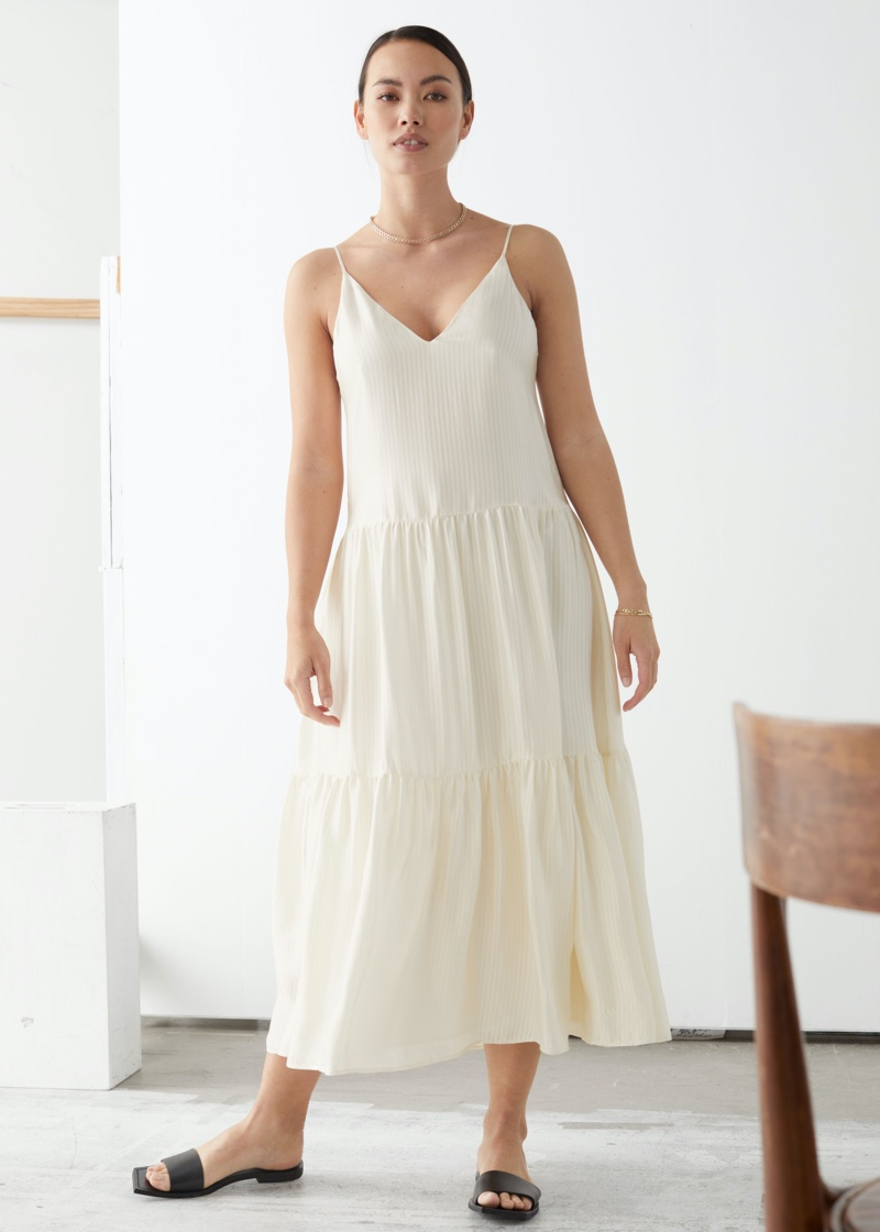 & Other Stories Tiered Viscose Midi Dress $129