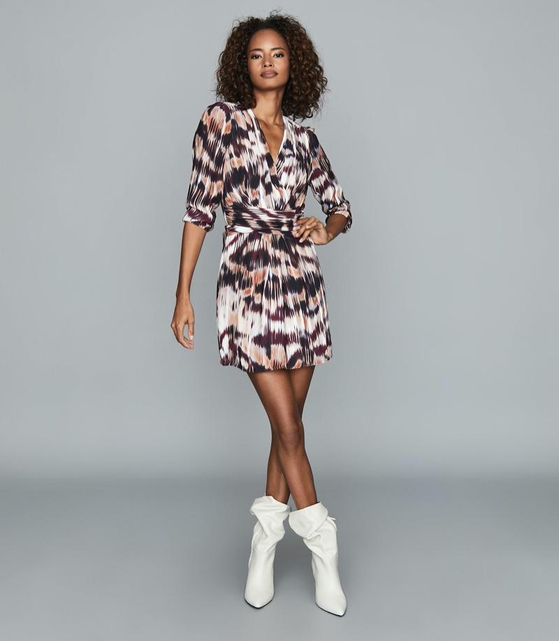 REISS Orla Ikat Printed Mini Dress $320