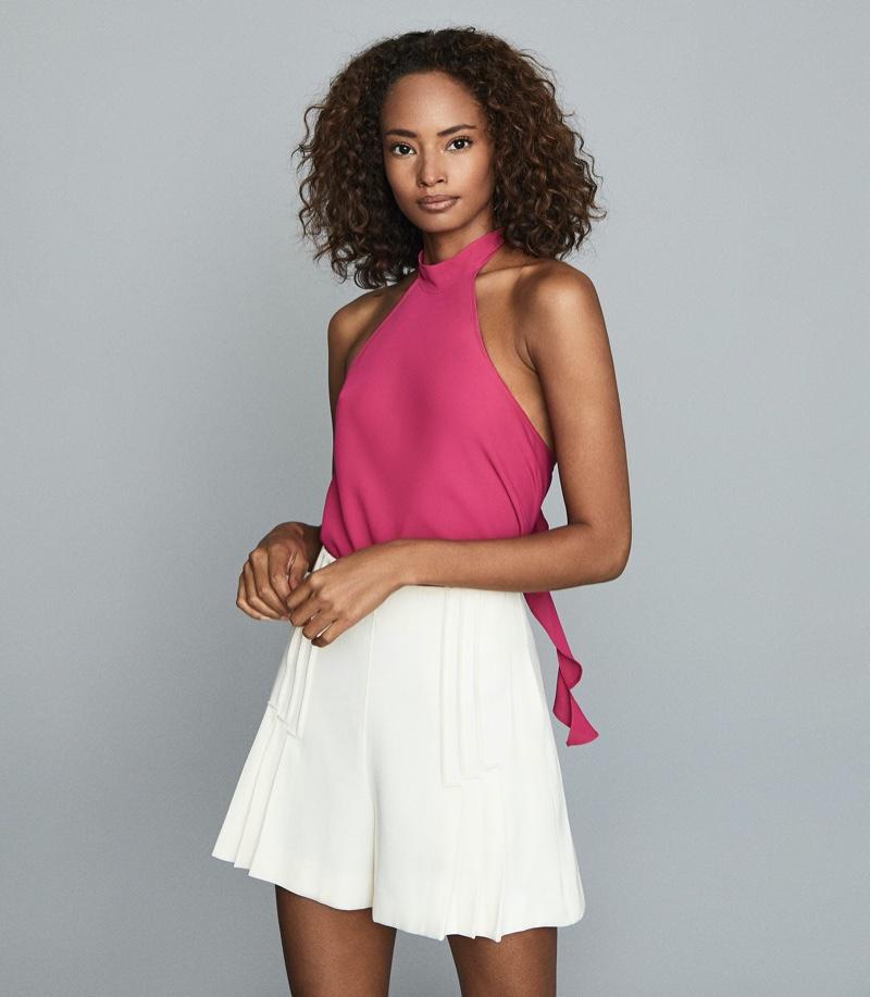 REISS Rose Ruffle-Detail Halterneck Top in Pink $180