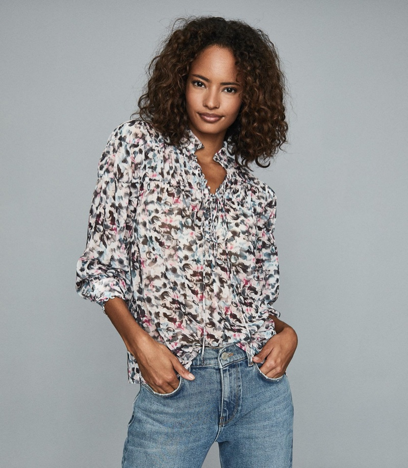 REISS Talia Floral Printed Blouse $220