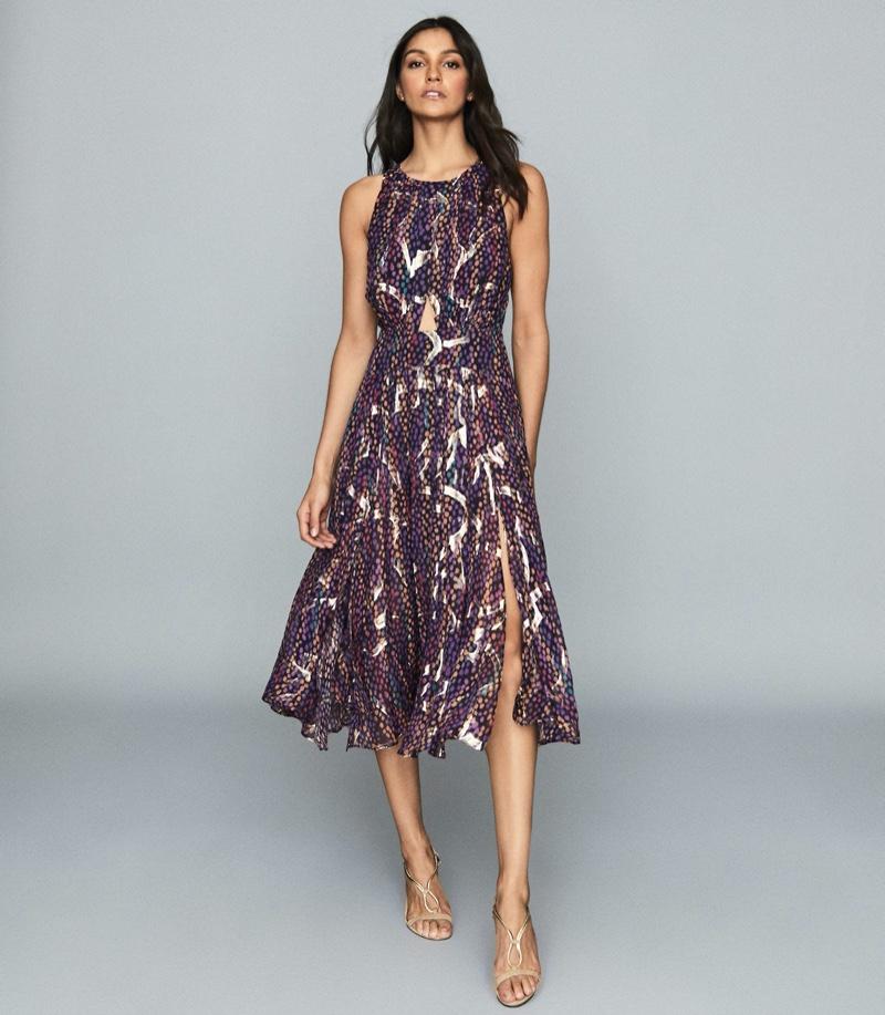 REISS Tammy Lamé Printed Chiffon Dress $465