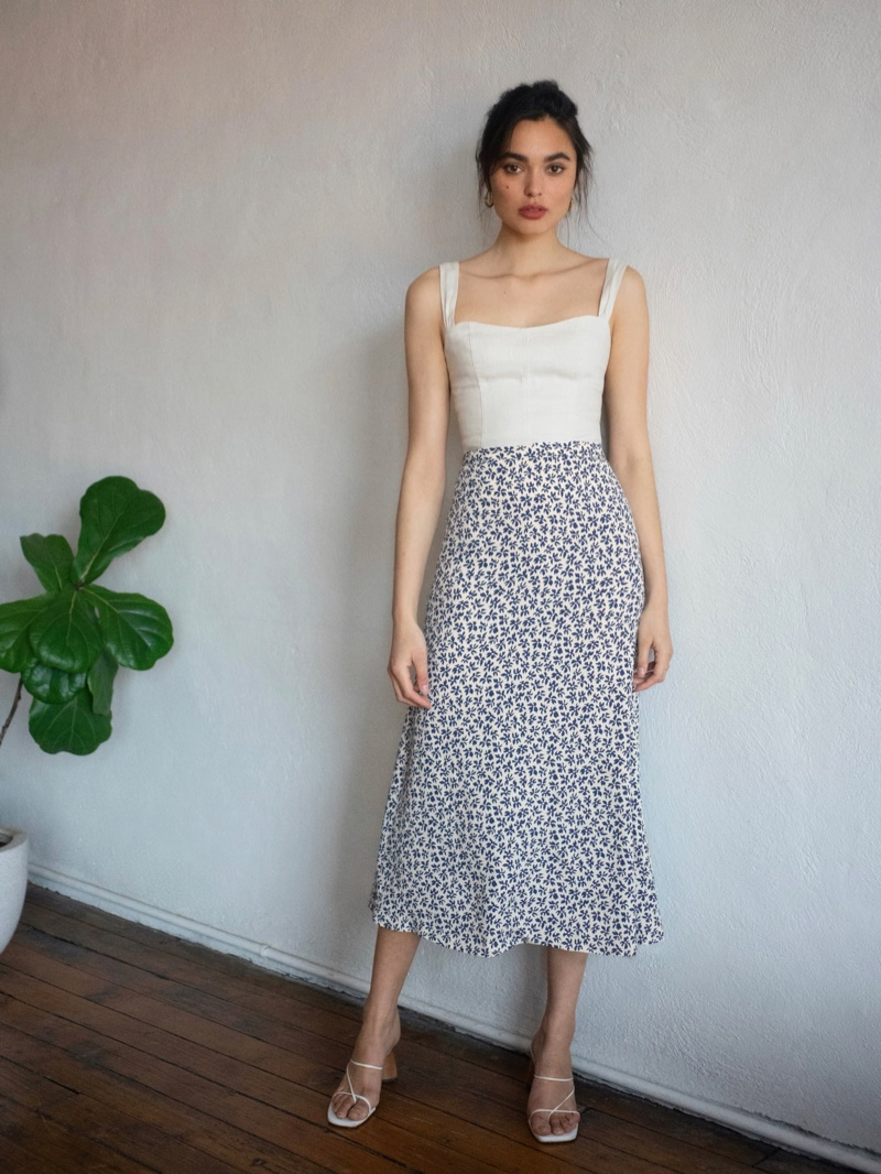 Reformation Bea Skirt in Bombay $128