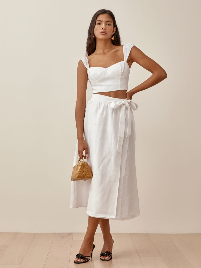 Reformation Clyde Linen Two Piece in White $278