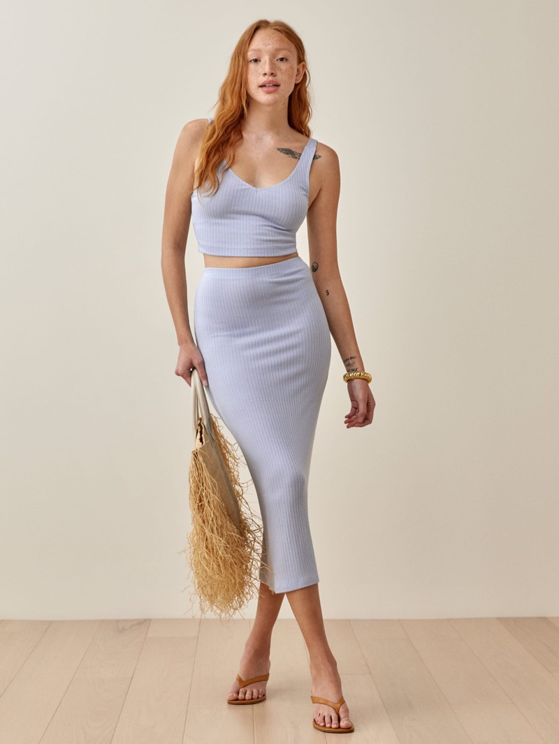 Reformation Emily Two Piece in Sky $128