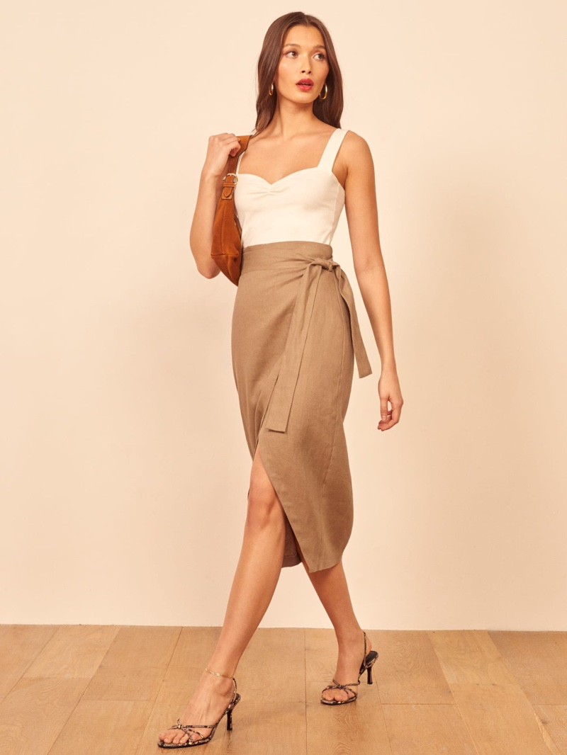 Reformation Florence Skirt in Khaki $148