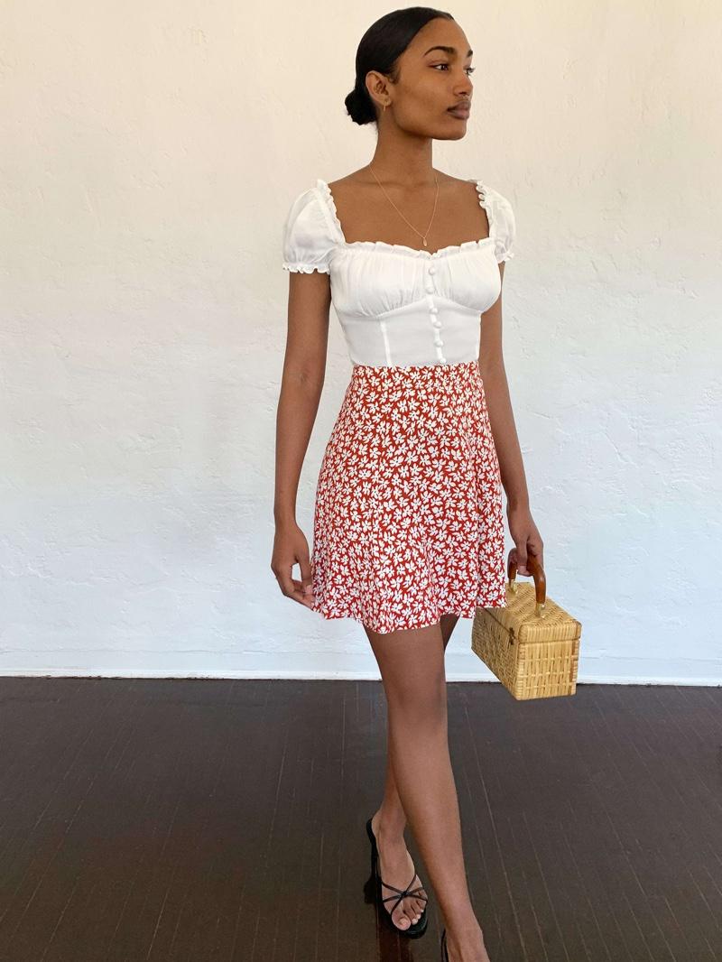 Reformation Flounce Skirt in Grenadine $98