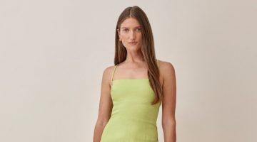 Reformation Karsten Linen Dress in Spearmint $218