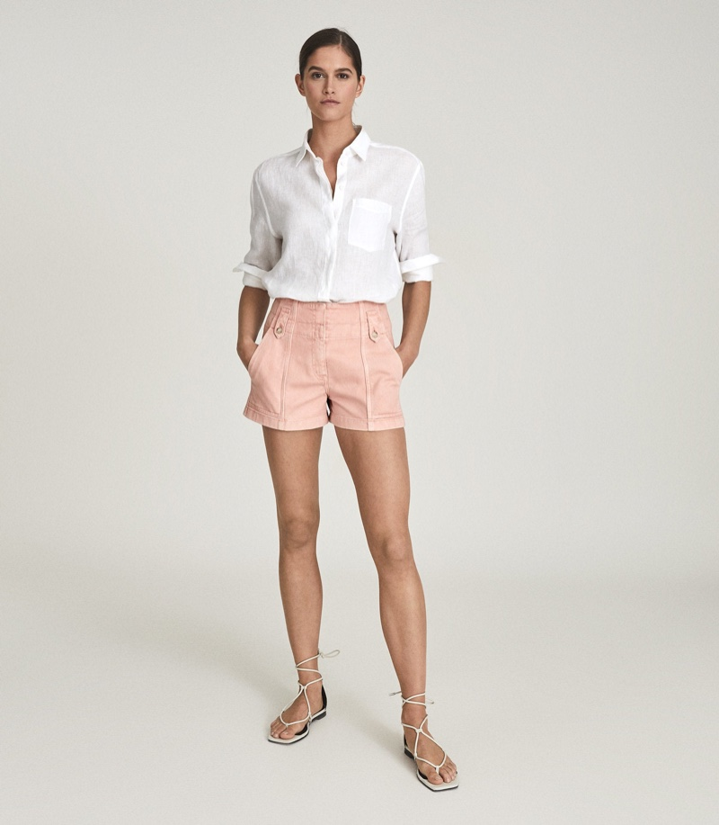 Reiss Alana Cotton Cargo Shorts in Pink $180