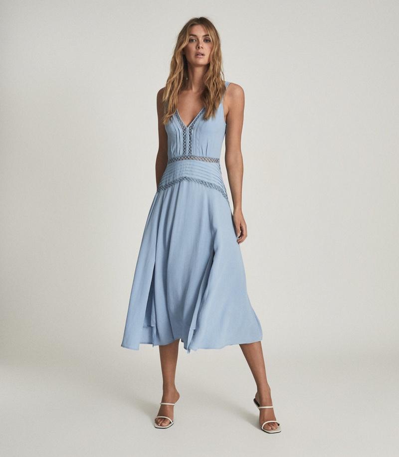 Reiss Alberta Pleat Detailed Midi Dress $330