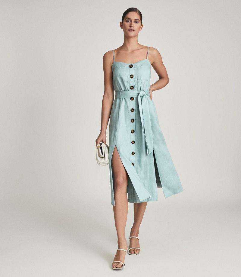 Reiss Catalina Linen Button-Up Midi Dress $320