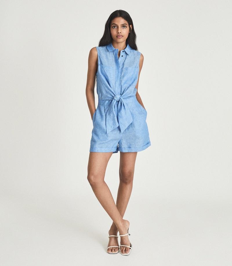 Reiss Ema Linen Playsuit in Blue $275