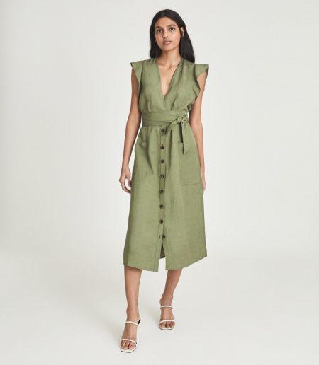 Reiss Emma Linen Blend Midi Dress $335