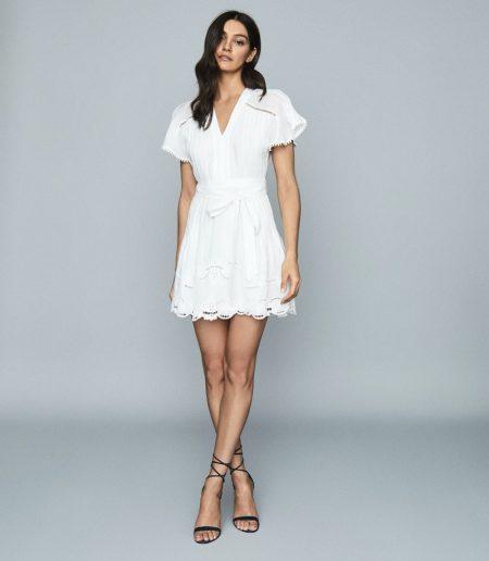 Reiss Gemina Embroidered Mini Dress in White $350