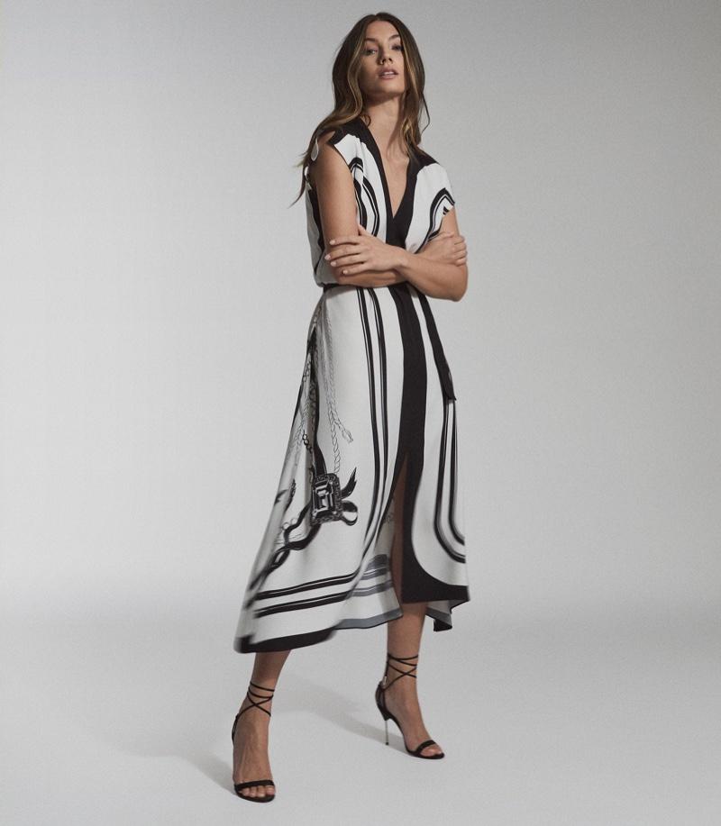 Reiss Heidi Scarf Print Midi Dress $465
