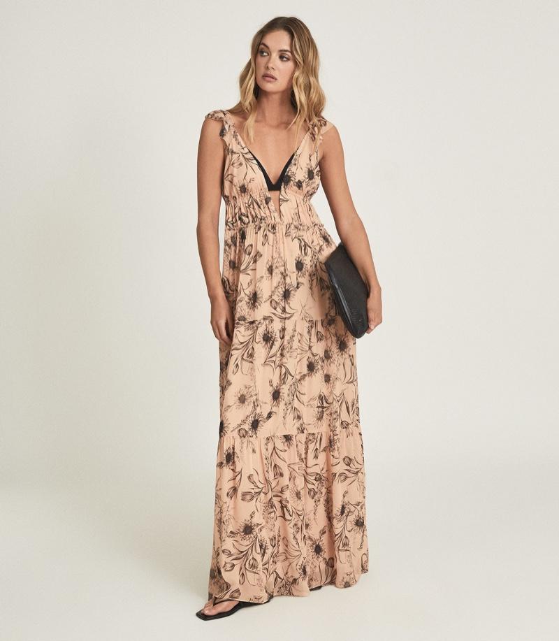 Reiss Peach Floral Printed Maxi Dress $395