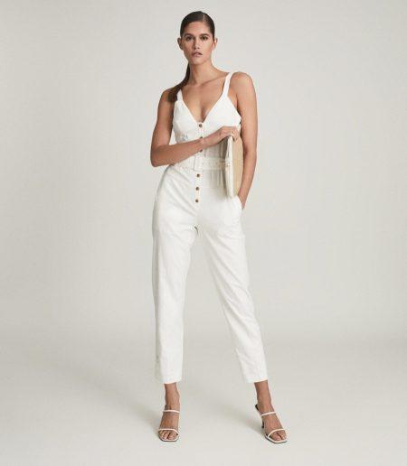 Reiss Sola Button Through Jumpsuit in White $370