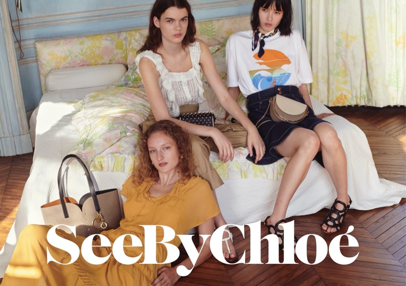 Agnes Nieske Abma, Hannah Sprehe and Yidan Huang star in See by Chloe spring-summer 2020 campaign.