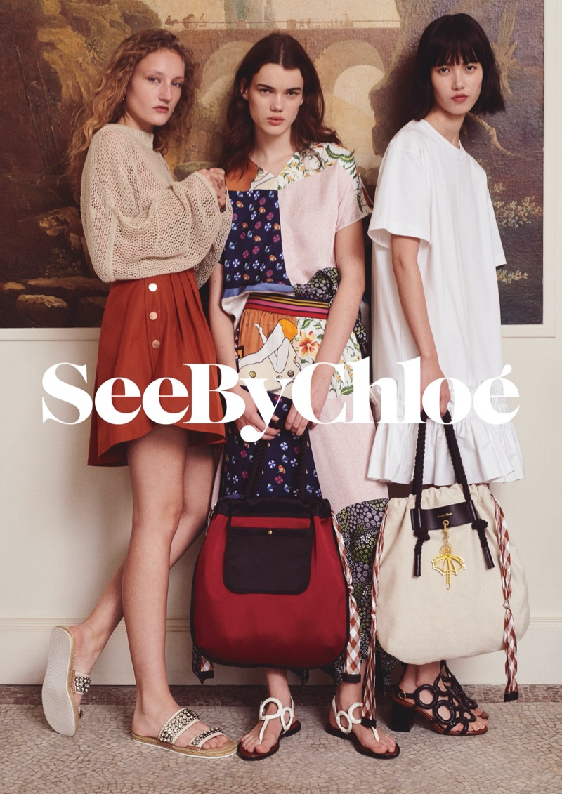 Models Agnes Nieske Abma, Hannah Sprehe and Yidan Huang pose for See by Chloe spring-summer 2020 campaign.