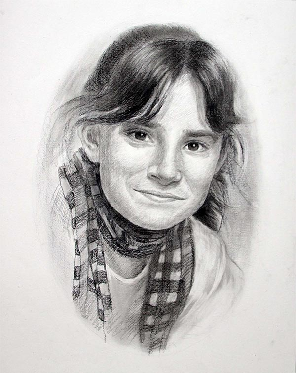 smiling girl on charcoal portrait painting