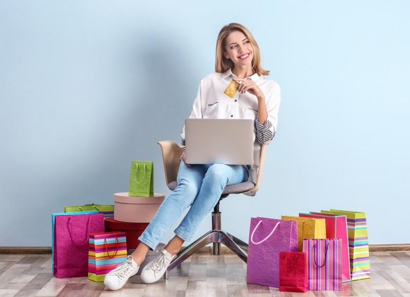 Smiling Woman Online Shopping Bags Laptop