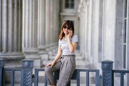 Smiling Woman Top Pants Courthouse Fashion
