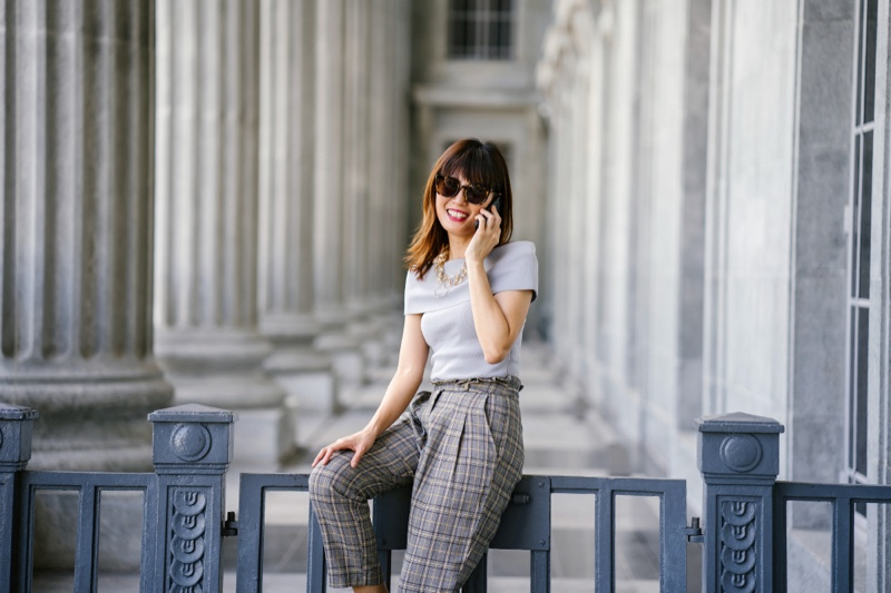 Smiling Woman Top Pants Courthouse Fashion