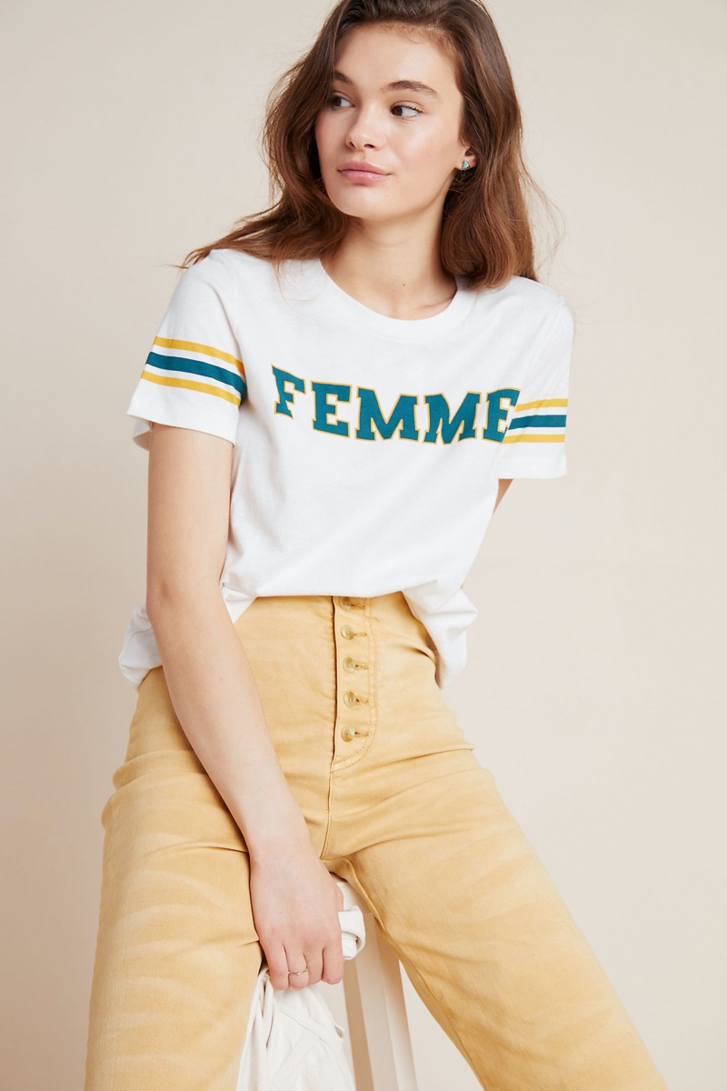 Sol Angeles Femme Striped Graphic Tee $78