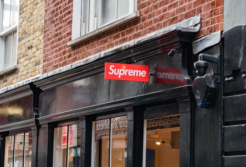 Supreme Store Logo in London.
