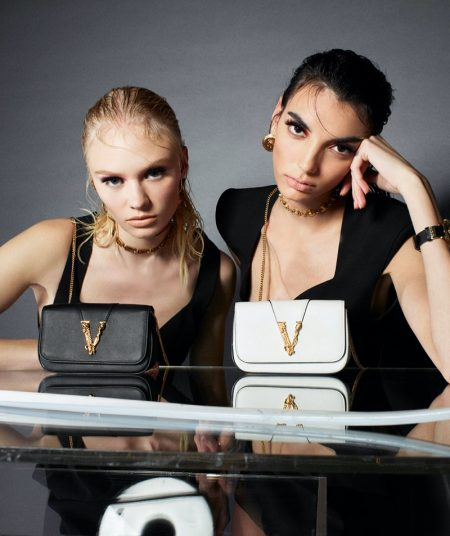 Vilma Sjöberg and Cynthia Arrebola star in Versace Virtus handbag summer 2020 campaign.