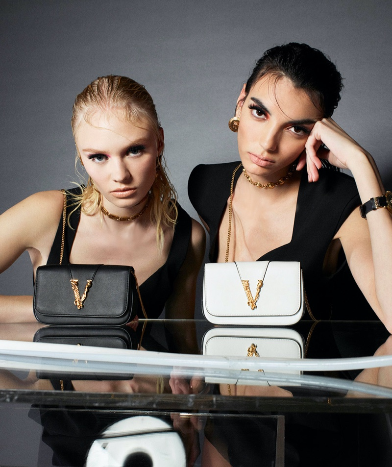 Vilma Sjöberg and  Cynthia Arrebola star in Versace Virtus handbag summer 2020 campaign.