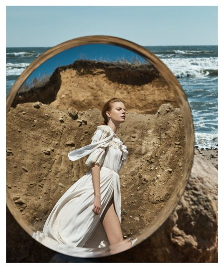 Viktoria Jakab Poses in Romantic Looks for Hamptons Magazine