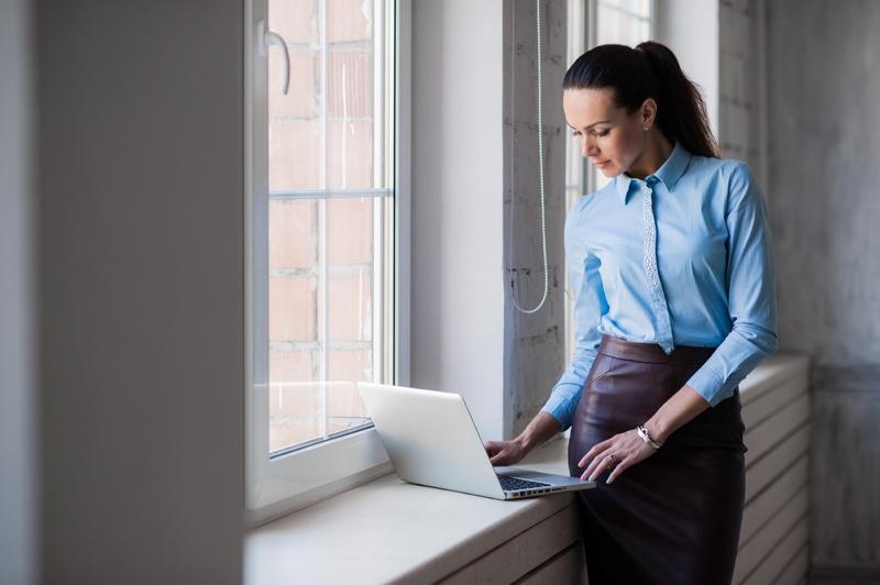 Woman Looking Laptop Skit Shirt Business