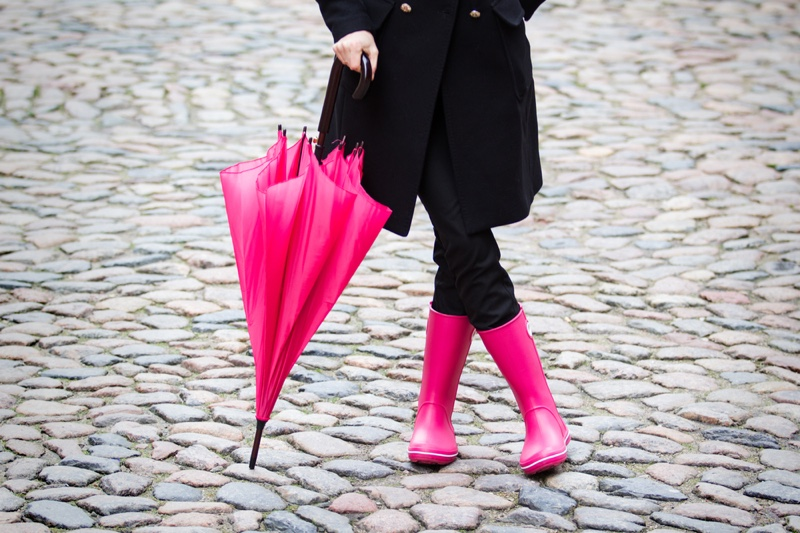 Woman Pink Rain Boots Umbrella