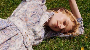 Eliza Kallmann poses in Zimmermann x MyTheresa paisley print dress.