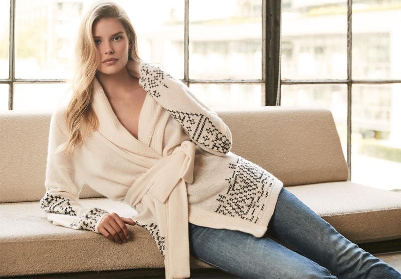 Model Alena Blohm wears wrap cardigan in 360 Cashmere fall 2020 campaign.