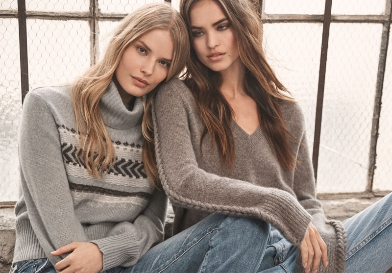 Alena Blohm and Robin Holzken appear in 360 Cashmere fall 2020 campaign.