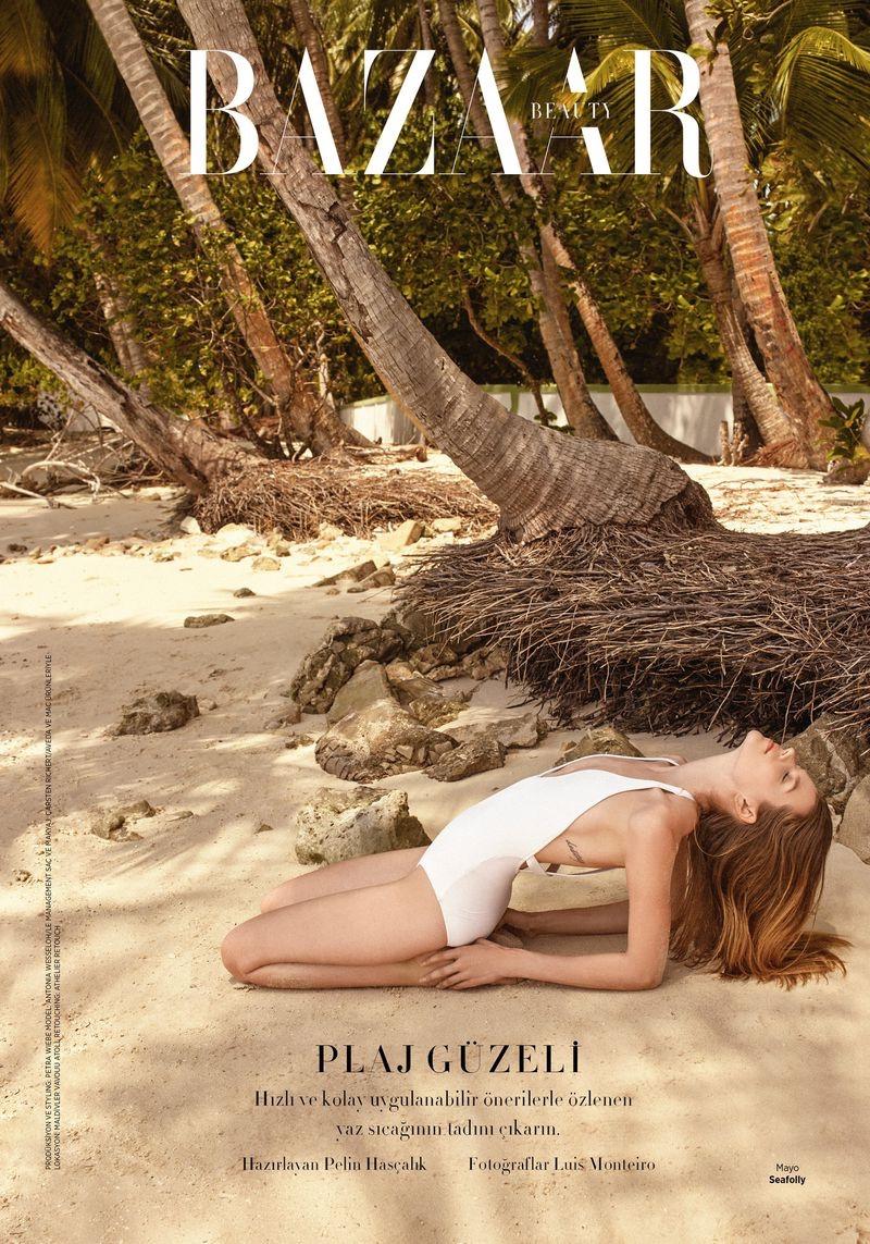 Antonia Wesseloh Models Beach Fashion for Harper's Bazaar Turkey