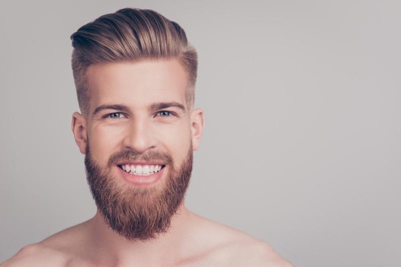 Attractive Man Beard Trendy Haircut Smiling