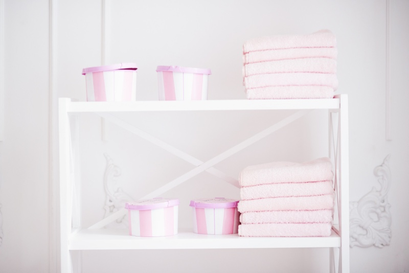 Bathroom Towels Boxes Pink Shelves