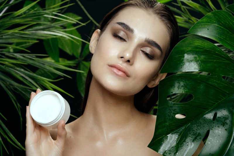 Beauty Model Cream Jar Leaves Natural Skin