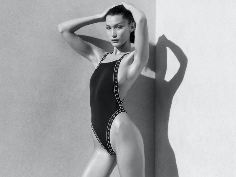 Model Bella Hadid appears in Calvin Klein swimwear summer 2020 campaign.