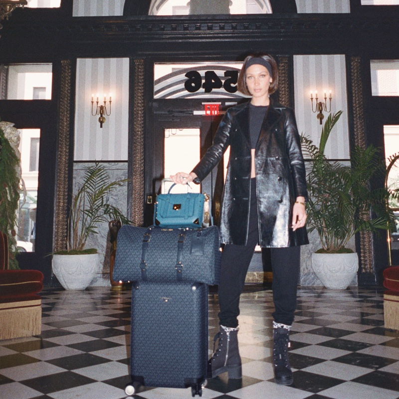 Model Bella Hadid poses in MICHAEL Michael Kors Travel Diaries story.