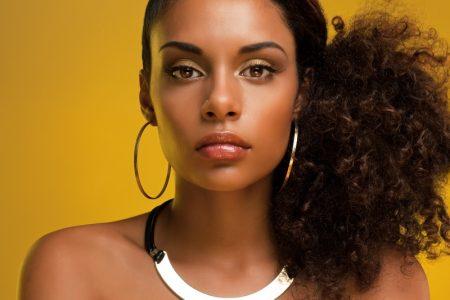 Black Model Gold Necklace Hoop Earrings