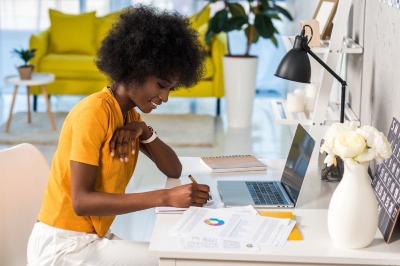 Black Woman Afro Hairstyle Working Home Laptop