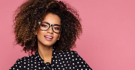 Black Woman Curly Hair Black Eye Glasses