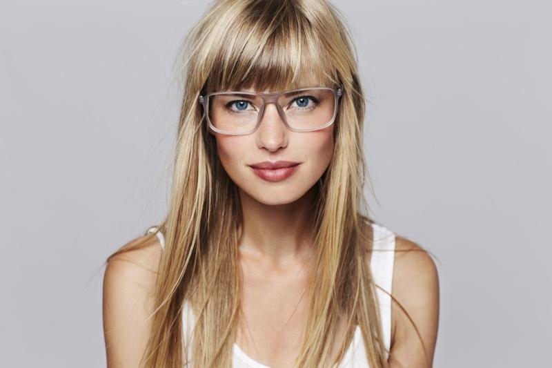 Blonde Model Long Hair Clear Eye Glasses Bangs