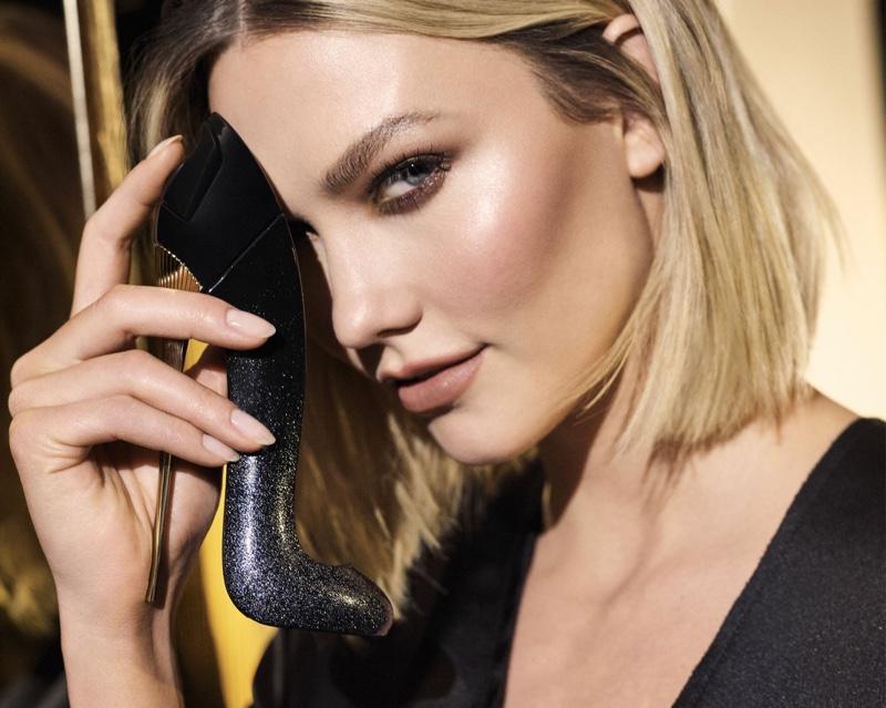 Ready for her closeup, Karlie Kloss poses for Carolina Herrera Good Girl Supreme fragrance campaign.