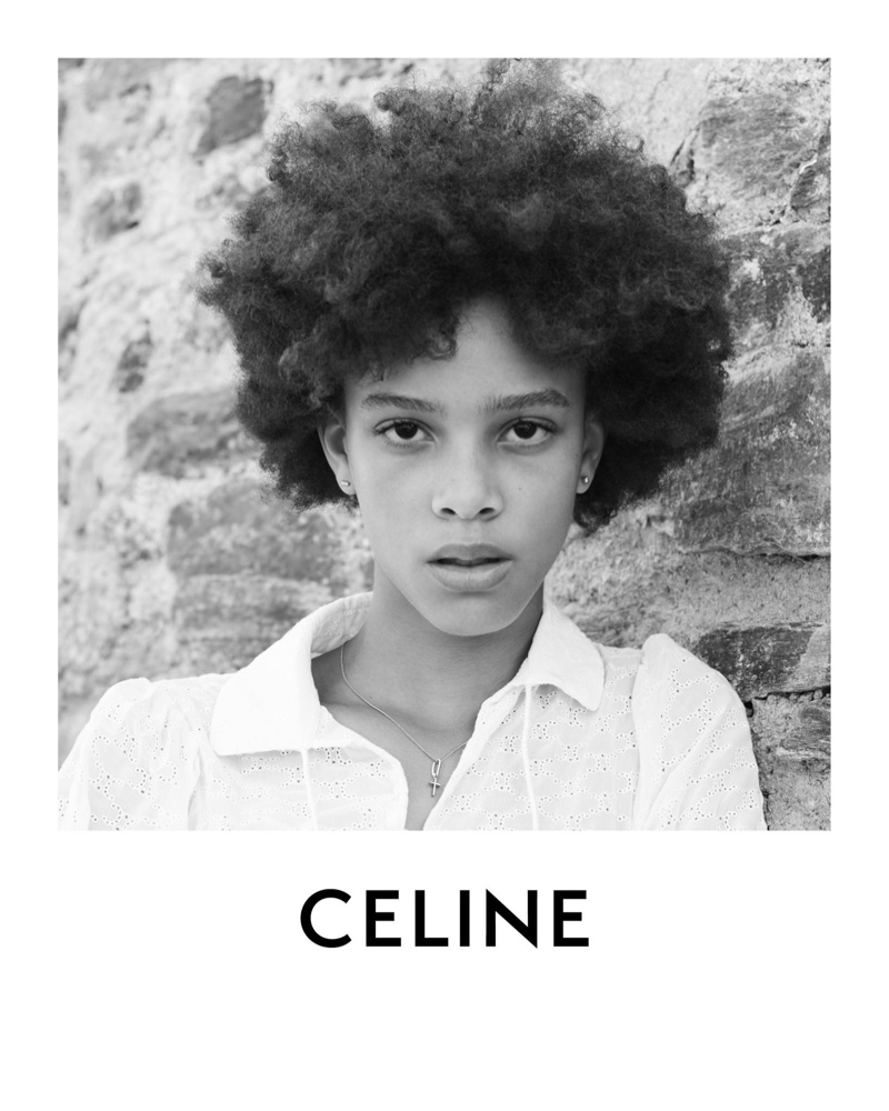 Model Essoye Mombot appears in Celine Plein Soleil collection.