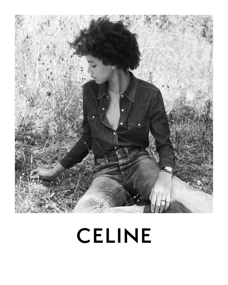 Essoye Mombot rocks denim from Celine Plein Soleil collection.