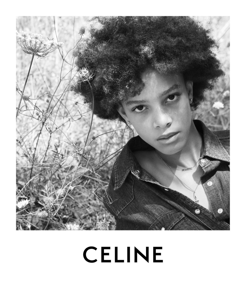 Fresh face Essoye Mombot poses for Celine Plein Soleil collection.
